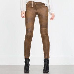 Zara Women Brown Faux Suede Leggings Pants